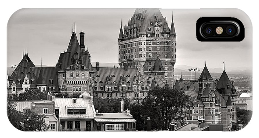 Quebec iphone x case featuring the photograph quebec city in black and white by pierre leclerc