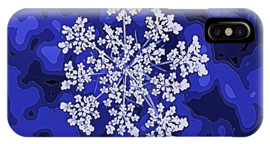 Blue IPhone X Case featuring the digital art Queen Anne's Lace by Marcy Curran