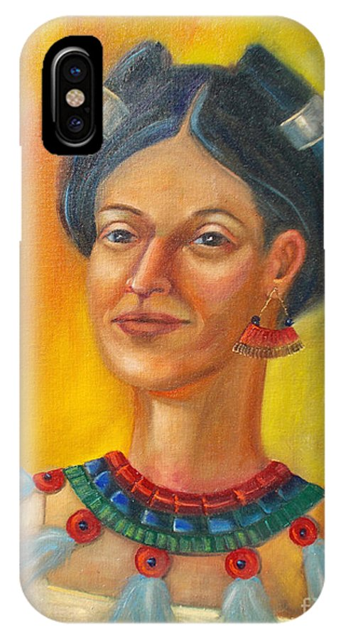 Aztec IPhone X Case featuring the painting Queen Centehua by Lilibeth Andre