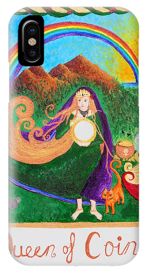People For Peace Art Collective IPhone X Case featuring the painting Queen Of Coins by Nicole Kopish
