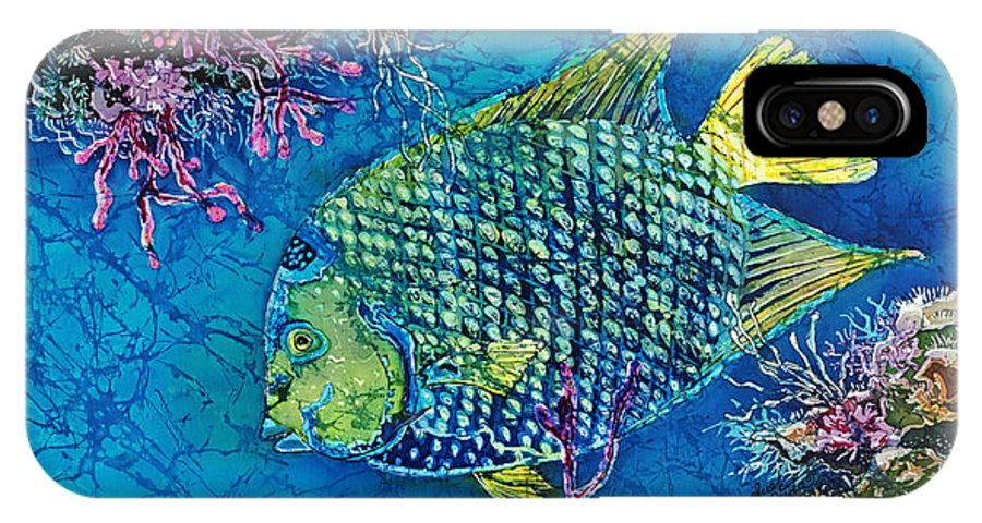 Angelfish IPhone X Case featuring the painting Queen of the Sea by Sue Duda