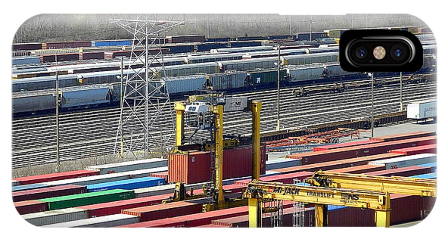 Trains IPhone X Case featuring the photograph Queensgate Yard Cincinnati Ohio by Kathy Barney