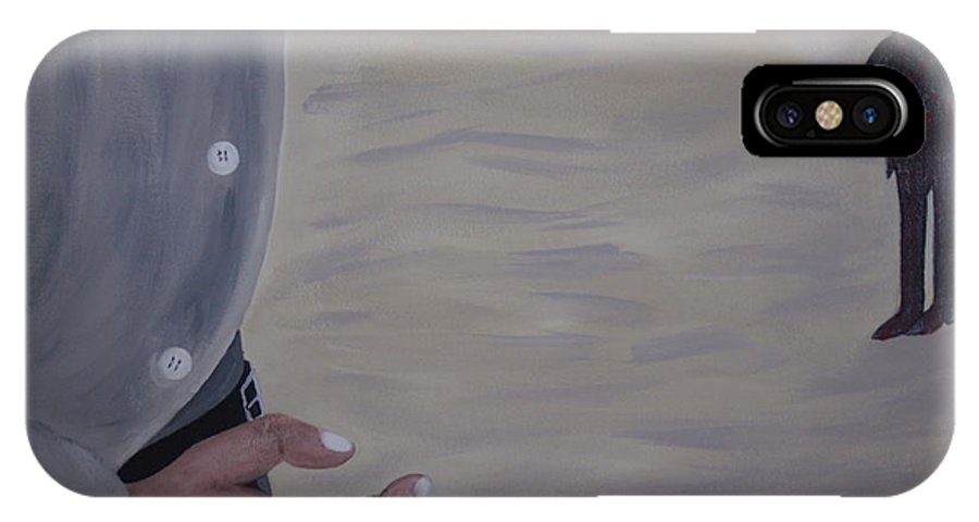 Western IPhone X Case featuring the painting Quick Draw Showdown by Dean Stephens