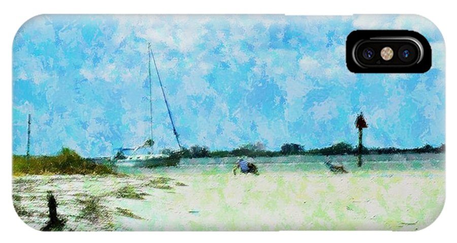 Beach IPhone X Case featuring the mixed media Quiet Beach Day by Florene Welebny
