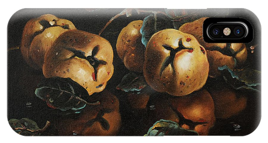 Still Life IPhone X Case featuring the painting Quinces by Dusan Vukovic
