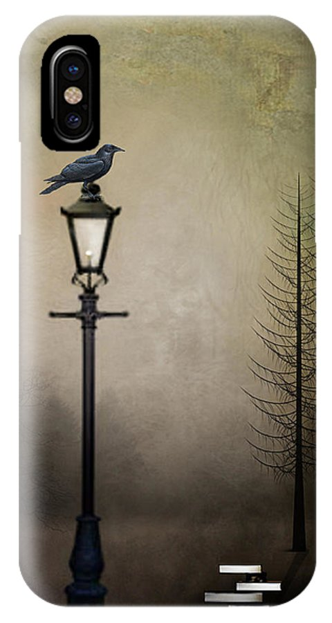 Poe Inspired Digital Painting IPhone X Case featuring the digital art Quote The Raven by Charlene Murray Zatloukal