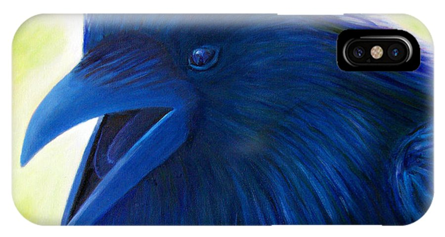 Raven IPhone X Case featuring the painting Raaawk by Brian Commerford