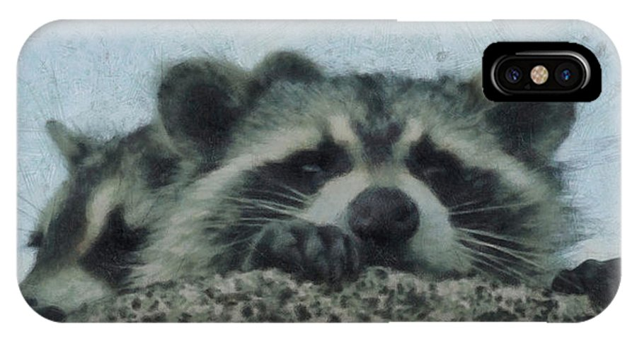 Raccoons Painterly IPhone X Case featuring the digital art Raccoons Painterly by Ernie Echols