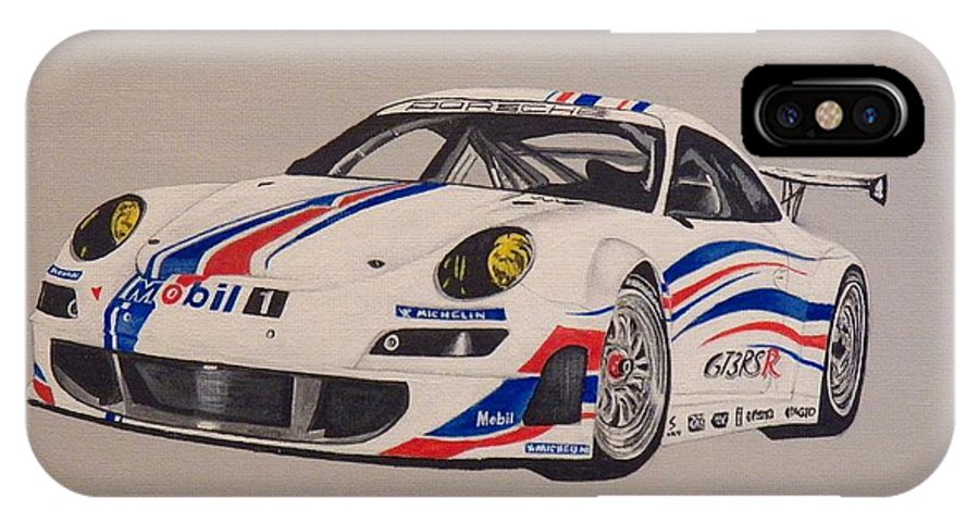 Race Cars IPhone X Case featuring the painting Race The Porsche by Jim Reale