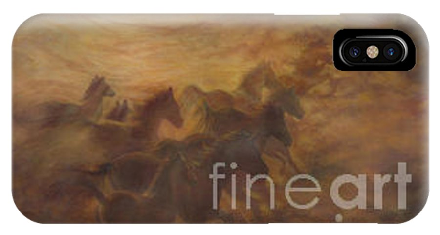 Horse IPhone X Case featuring the painting Racing The Wind by Wendy Froshay