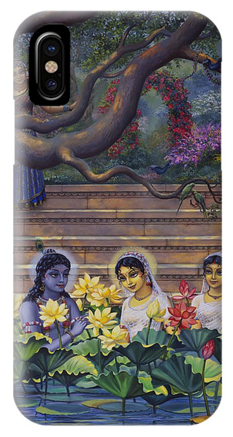 Krishna IPhone X Case featuring the painting Radha And Krishna Water Pastime by Vrindavan Das