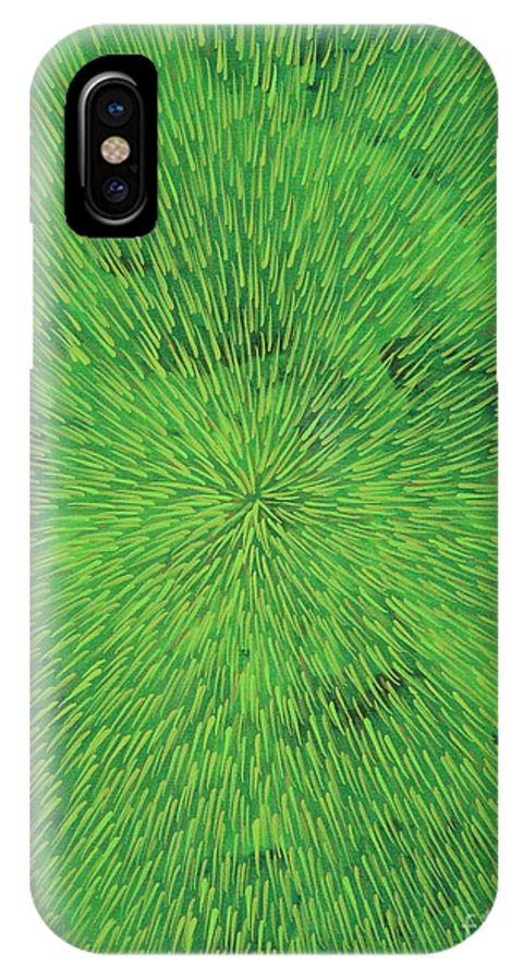 Abstract IPhone X Case featuring the painting Radiation Green by Dean Triolo