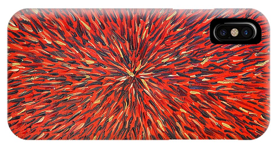 Abstract IPhone Case featuring the painting Radiation Red by Dean Triolo