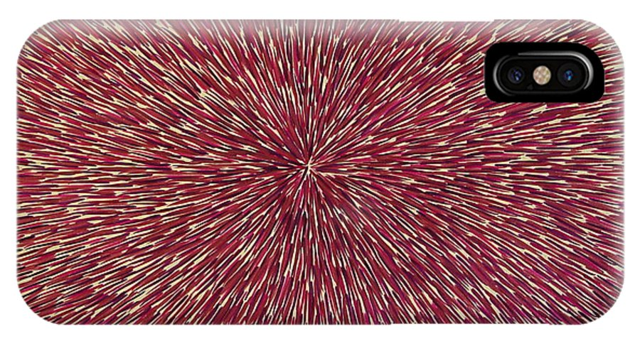 Abstract IPhone Case featuring the painting Radiation With Brown Magenta And Violet by Dean Triolo