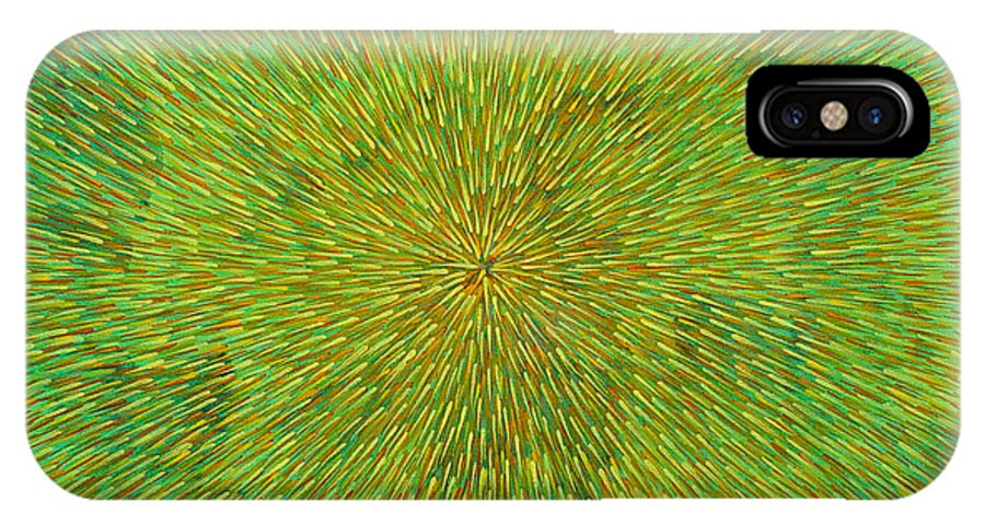 Abstract IPhone Case featuring the painting Radiation With Green Yellow And Orange by Dean Triolo