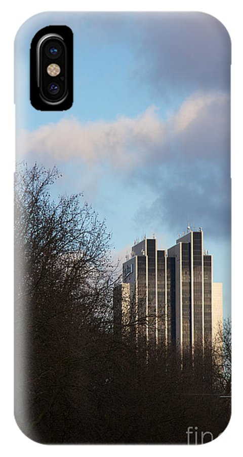 Architectural IPhone X Case featuring the photograph Radisson Blu Hotel Hamburg Behind Trees by Jannis Werner