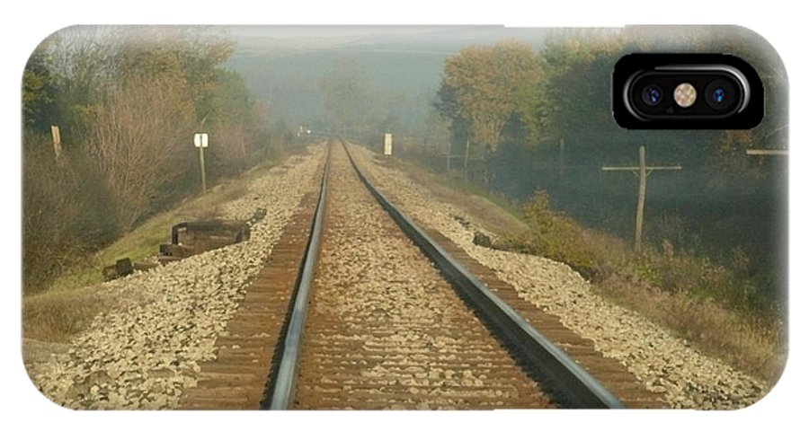Railroad Tracks IPhone X Case featuring the pyrography Railroad Tracks by Steven Woodard