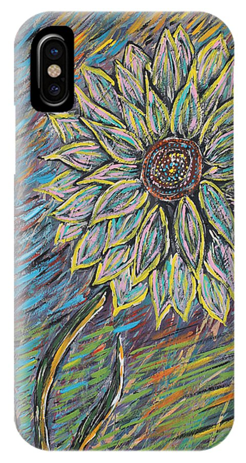 Flower IPhone X Case featuring the painting Rain Flower by Stephen Harrelson
