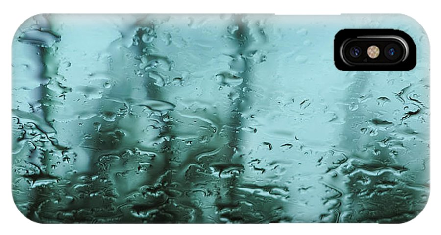 Dreary IPhone X Case featuring the photograph Rain On Bare Trees by Lars Lentz