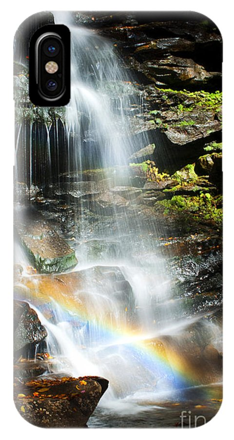 Ricketts Glen IPhone X Case featuring the photograph Rainbow And Falls by Paul W Faust - Impressions of Light