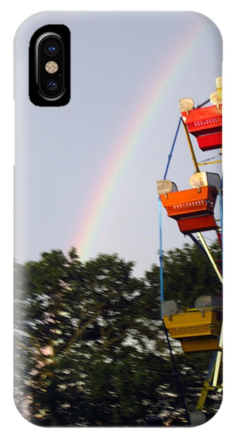 Rainbow IPhone X Case featuring the photograph Rainbow And Ferris Wheel by Jen Seel
