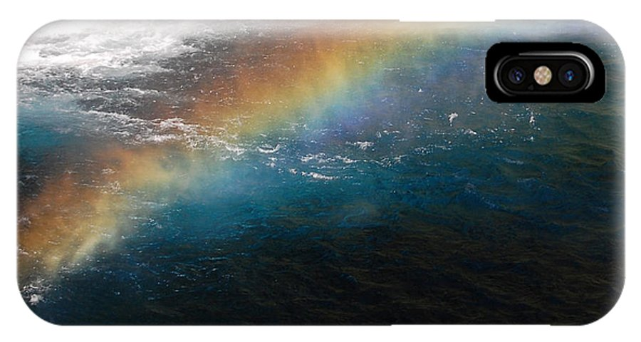Mcarthur-burney Falls Memorial State Park IPhone X Case featuring the photograph Rainbow At Waterfall Base by Debra Thompson