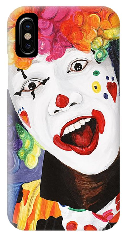 Clown IPhone Case featuring the painting Rainbow Clown by Patty Vicknair
