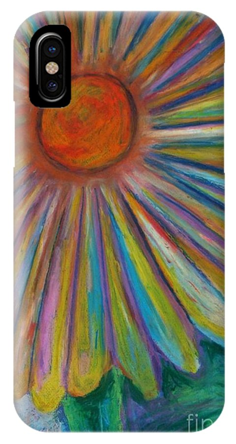Abstract Flower Daisies IPhone X Case featuring the drawing Rainbow Daisies by Jon Kittleson