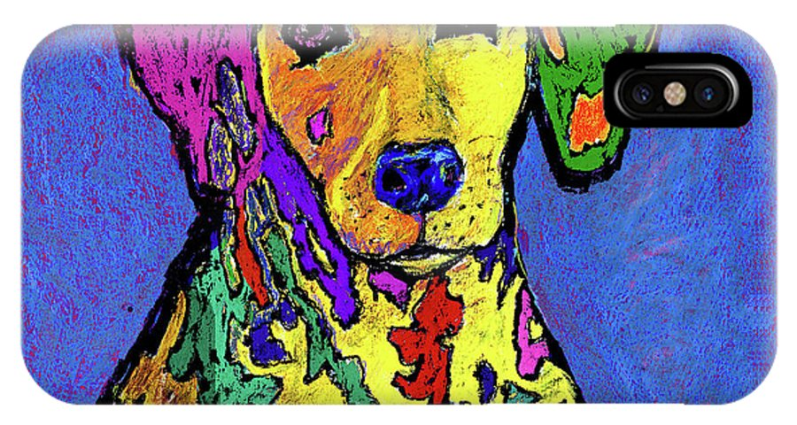 Dalmatian IPhone X Case featuring the painting Rainbow Dalmatian by Dale Moses