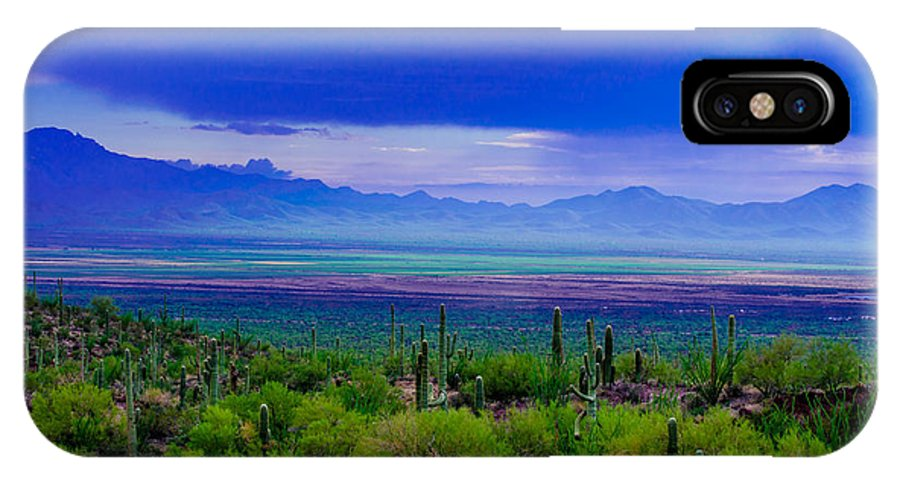 Rainbow IPhone X Case featuring the photograph Rainbow Desert Landscape by Michael Moriarty