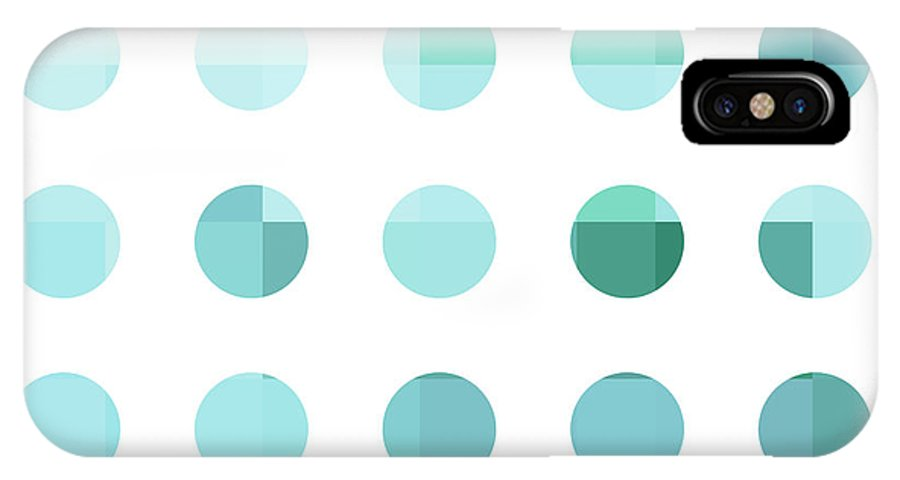 Abstract IPhone X Case featuring the painting Rainbow Dots Aqua by Pixel Chimp