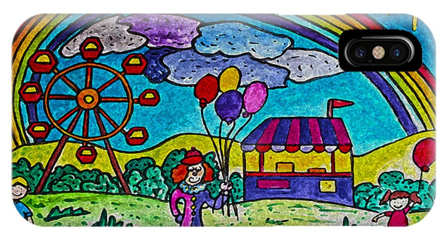 Circus IPhone X Case featuring the painting Rainbow Fair by Monica Engeler