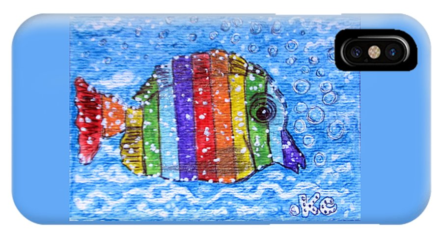 Fish IPhone X / XS Case featuring the painting Rainbow Fish by Kathy Marrs Chandler