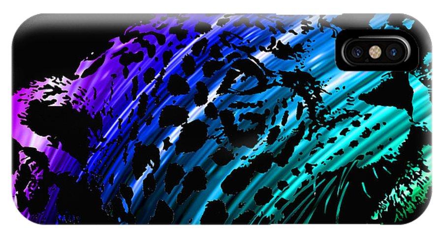 Jaguar IPhone X Case featuring the digital art Rainbow Jaguar by Israel Zuniga