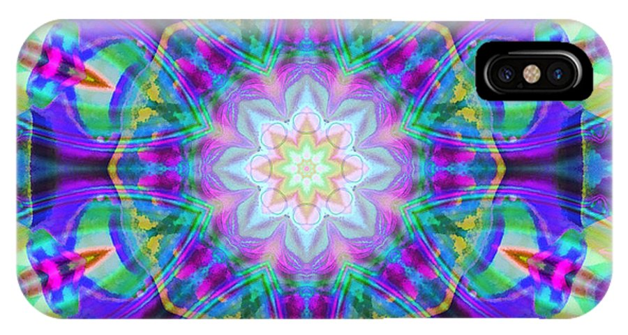 Mandala IPhone X Case featuring the mixed media Rainbow Lotus by SiriSat Julia Claire