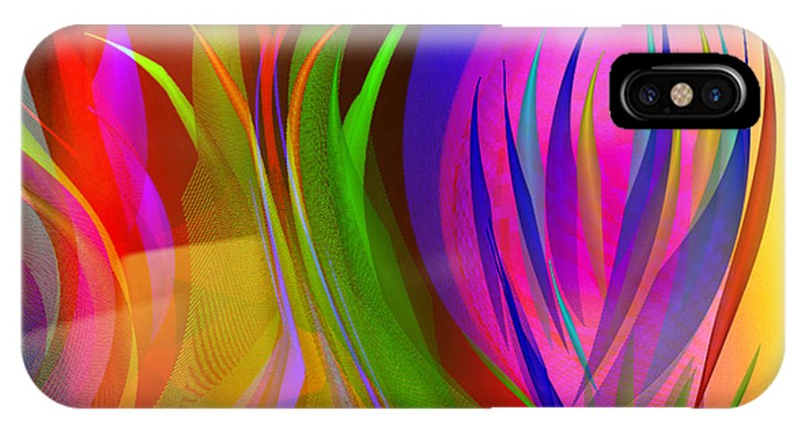 Digital Art Abstract Rainbow Of Thoughts IPhone X Case featuring the digital art Rainbow Of Thoughts by Gayle Price Thomas