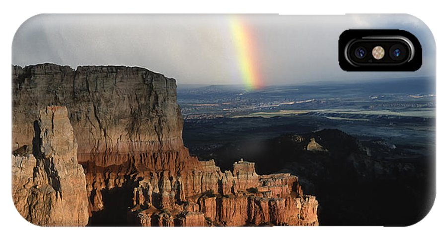 Southwest IPhone X Case featuring the photograph Rainbow Over Bryce Canyon by Sandra Bronstein