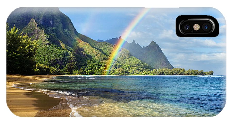Amazing IPhone X Case featuring the photograph Rainbow over Haena Beach by M Swiet Productions