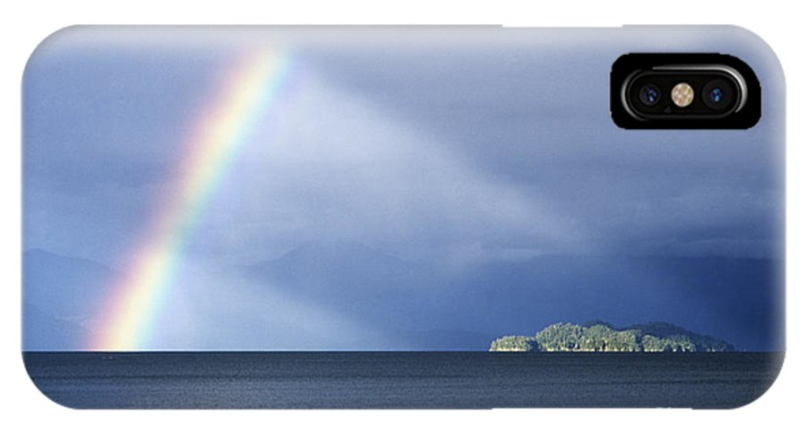 Rainbow IPhone X Case featuring the photograph Rainbow Over Lake Todos Santos Chile by James Brunker