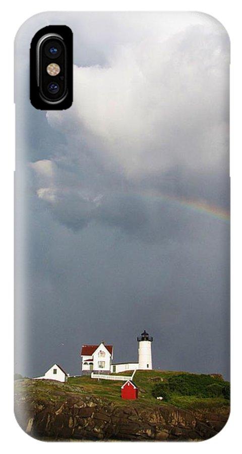 Rainbow IPhone X Case featuring the photograph Rainbow Over Nubble Lighthouse York Beach Maine by Michael Saunders