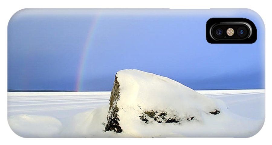 Beautiful IPhone X Case featuring the photograph Rainbow Over The Frozen Lake by IB Photography