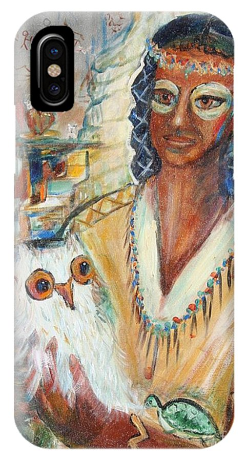 Woman IPhone X Case featuring the painting Rainbow Owl by Avonelle Kelsey