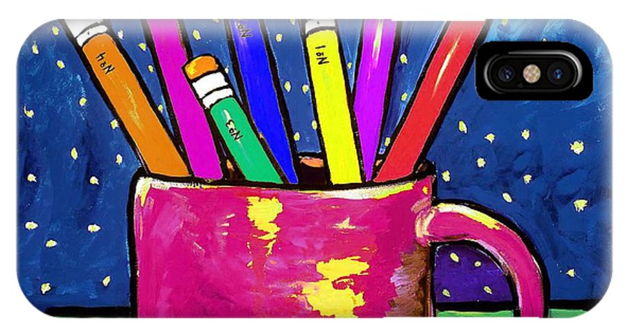 Children IPhone X Case featuring the painting Rainbow Pencils In A Cup by Dale Moses