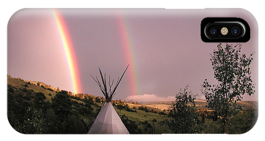 Landscape IPhone X Case featuring the photograph Rainbow Tipi by Annie White
