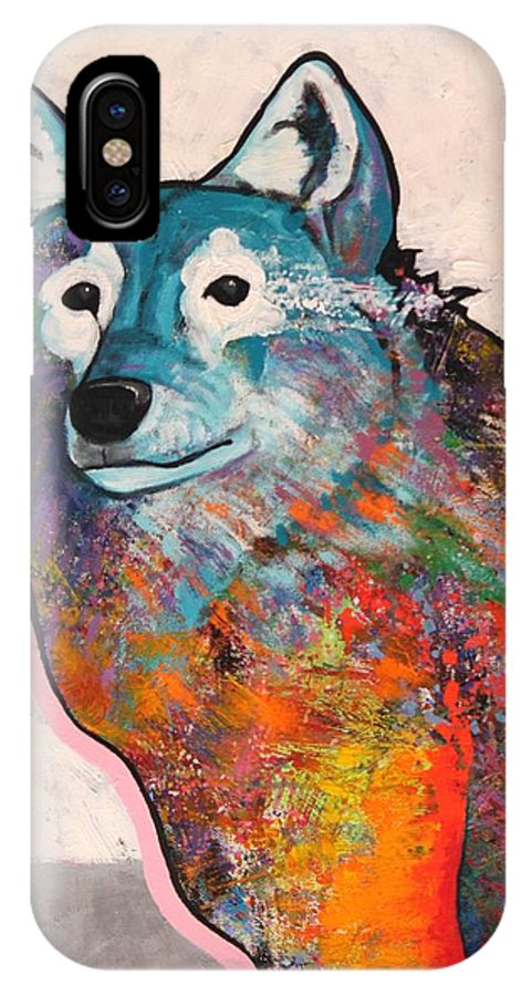 Animal IPhone X Case featuring the painting Rainbow Warrior - Alfa Wolf by Joe Triano