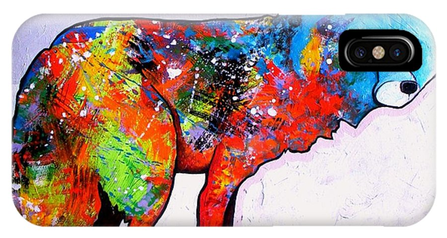 Animal IPhone X Case featuring the painting Rainbow Warrior - Fox by Joe Triano