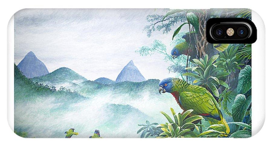 Chris Cox IPhone X Case featuring the painting Rainforest Realm - St. Lucia Parrots by Christopher Cox