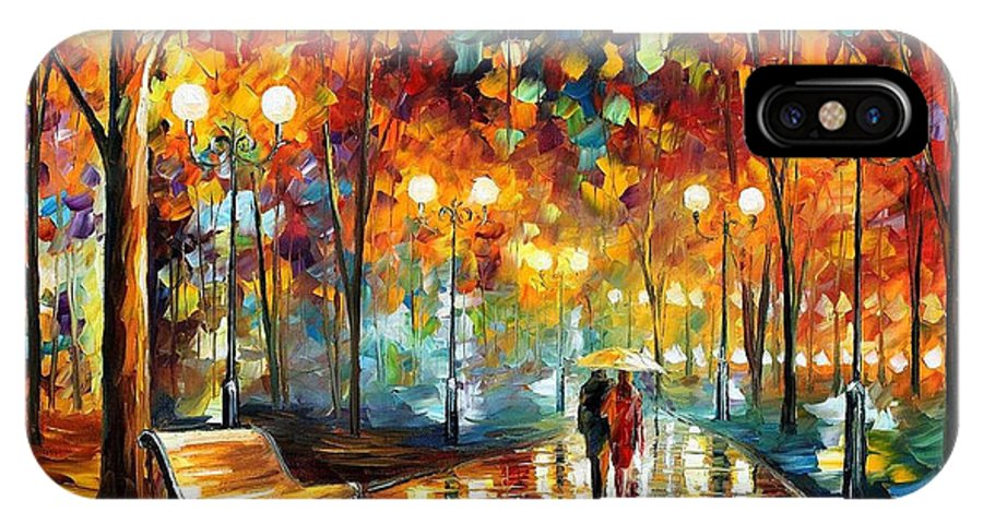 Leonid Afremov IPhone X Case featuring the painting Rain's Rustle 2 - Palette Knife Oil Painting On Canvas By Leonid Afremov by Leonid Afremov