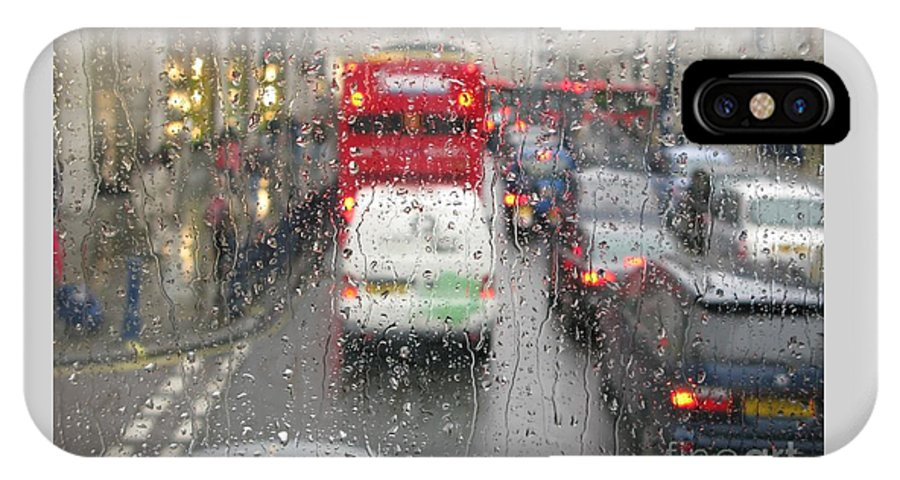 Rainy Day London Traffic By Ann Horn IPhone Case featuring the photograph Rainy Day London Traffic by Ann Horn