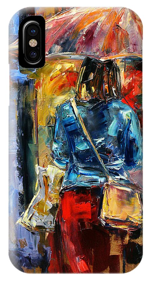 Rainy Street Scene IPhone X Case featuring the painting Rainy Day People #2 by Debra Hurd